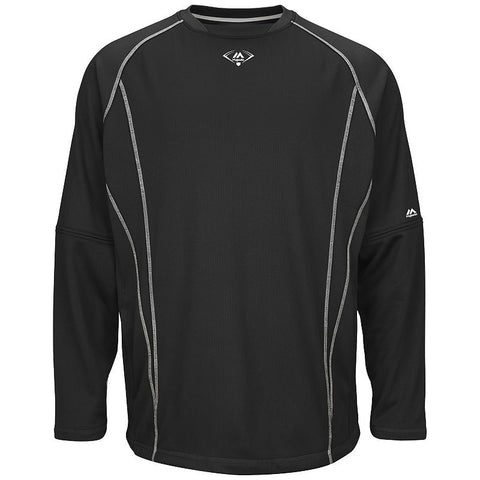 Majestic Adult Baseball Practice Pullover Black