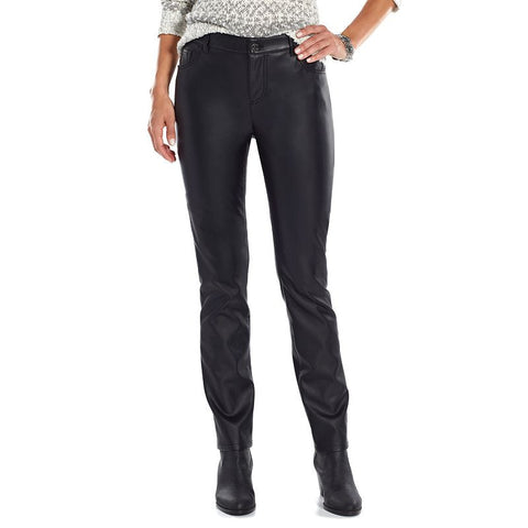 Chaps Faux-Leather Straight-Leg Pants - Women's Black Faux Leather