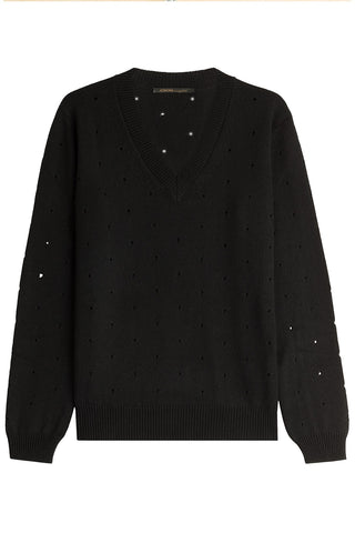 Agnona Cashmere Pullover with Cut-Out Detail - black