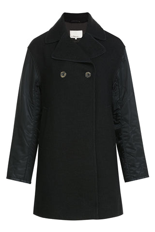3.1 Phillip Lim Wool Coat with Contrast Sleeves - black