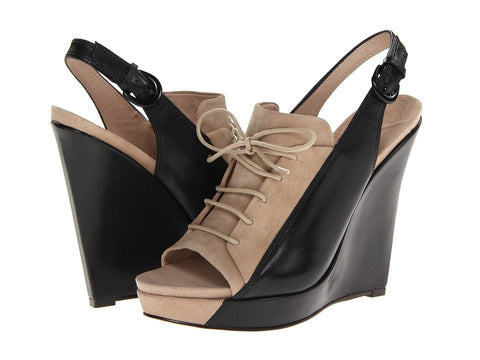10 Crosby Derek Lam - Gi (Tan Suede/Black Eco Leather) Women's Wedge Shoes