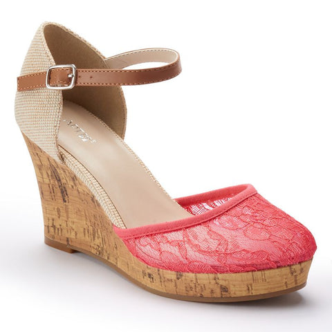 Apt. 9® Women's Lace Platform Wedge Sandals Orange Oth
