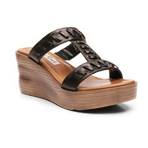 2 Lips Too Too Across Women's Wedge Sandals Girl's Black