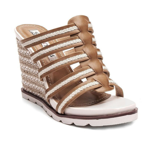2 Lips Too Too Upswing Women's Wedge Sandals Girl's Dark Beige