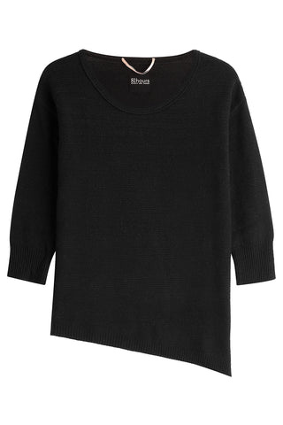 81 Hours by Dear Cashmere Cashmere Pullover with Asymmetric Hem - black