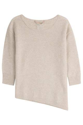 81 Hours by Dear Cashmere Cashmere Pullover with Asymmetric Hem - beige