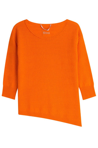 81 Hours by Dear Cashmere Cashmere Pullover with Asymmetric Hem - orange