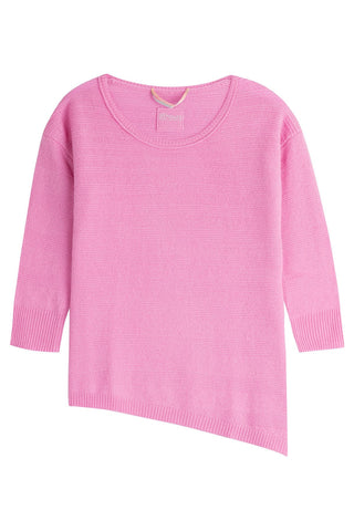 81 Hours by Dear Cashmere Cashmere Pullover with Asymmetric Hem - rose