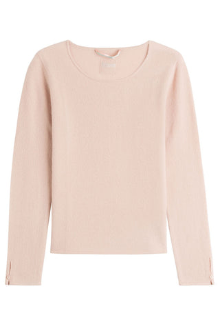 81 Hours by Dear Cashmere Cashmere Pullover with Buttoned Cuffs - rose-15185