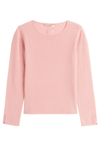 81 Hours by Dear Cashmere Cashmere Pullover with Buttoned Cuffs - rose-15186