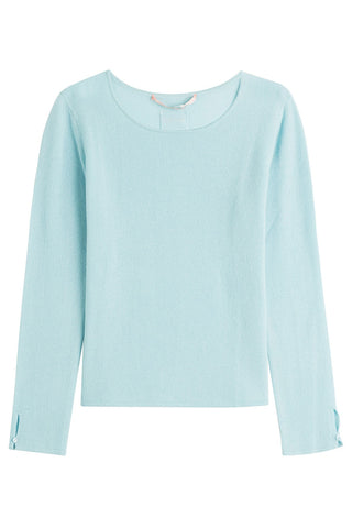 81 Hours by Dear Cashmere Cashmere Pullover with Buttoned Cuffs - blue-15187