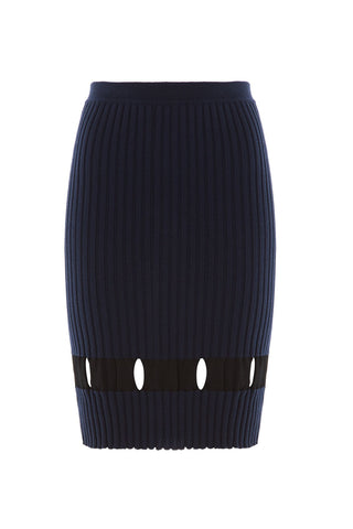 Alexander Wang Ribbed Wool Skirt with Cut-Out Detail - blue