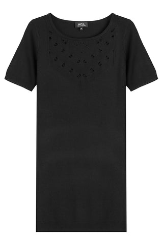 A.P.C. Merino Knit Dress with Drop Stitch Detailing - black
