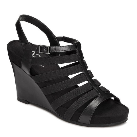 A2 by Aerosoles Magic Plush Women's Wedge Sandals Black
