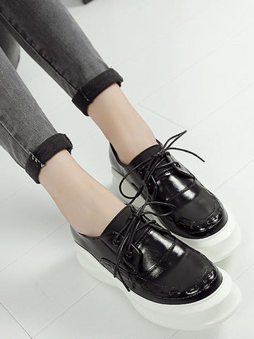 Black Contrast Rounded Toe Lace Up Flatform Shoes