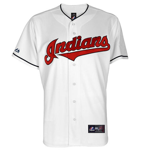Big & Tall Majestic Cleveland Indians Cool Base Replica Jersey Men's Idn White