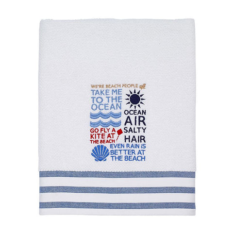 Avanti Beach Words Bath Towel, White