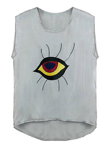 Gray Contrast Eye Print Dipped Back Vest