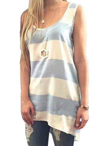 White And Blue Stripe Hi-lo Vest