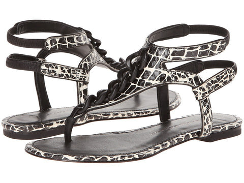 10 Crosby Derek Lam - Damast (Black Croco Print Snake) Women's Sandals