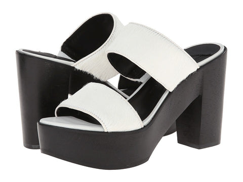 10 Crosby Derek Lam - Luanda Too (Soft White Haircalf Black Wood Ornament) Women's Sandals