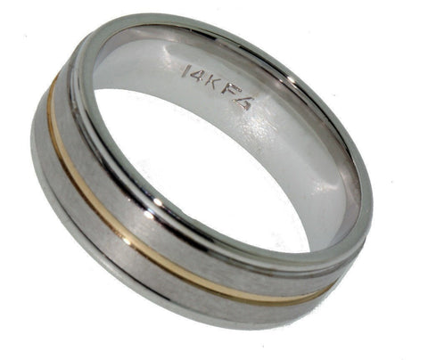 """14K Two Tone Gold Mens Wedding Band"" - SprintShopping"