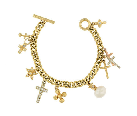 """14K Charms Religious Cross Diamond Chain Bracelet"" - SprintShopping"