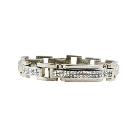 """14K White Gold Chain Link Bracelet With Diamonds Biker Look Men's"" - SprintShopping"