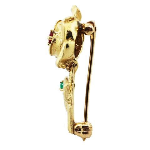 """14K Yellow Gold Ruby and Emerald Rose Lapel Pin"""