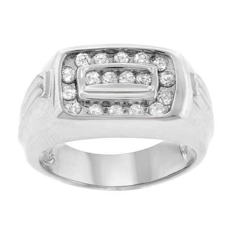 """14K White Gold & Diamond Men's Ring""-2648 - SprintShopping"