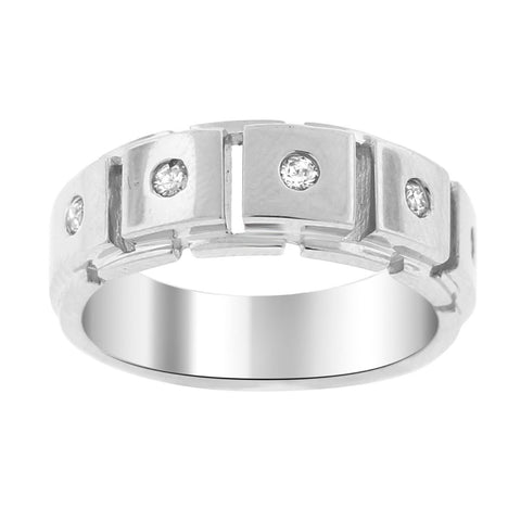 """14K White Gold & Diamond Men's Ring""-2683 - SprintShopping"