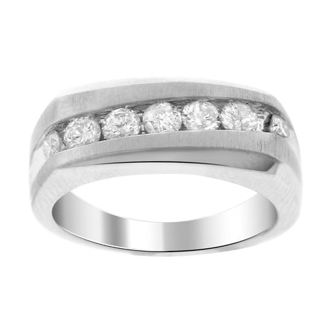 """14K White Gold & Diamond Men's Ring""-2685 - SprintShopping"