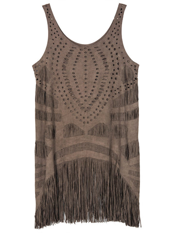 Dark Gray Suedette Laser Cut Tasseled Hem Vest