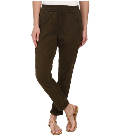 7 For All Mankind - Soft Pant With Cuffed Hem in Olive Enzyme Twill (Olive Enzyme Twill) Women's Casual Pants