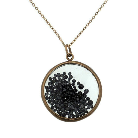 """10K Rose Gold & Black Diamond Shaker Pendant Chain Necklace"" - SprintShopping"
