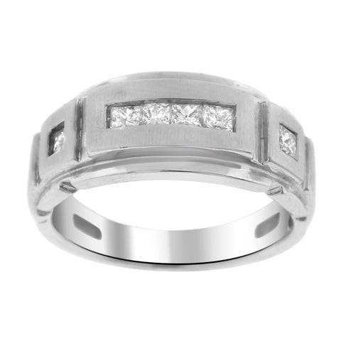 """14K White Gold & Diamond Men's Band Ring"" - SprintShopping"