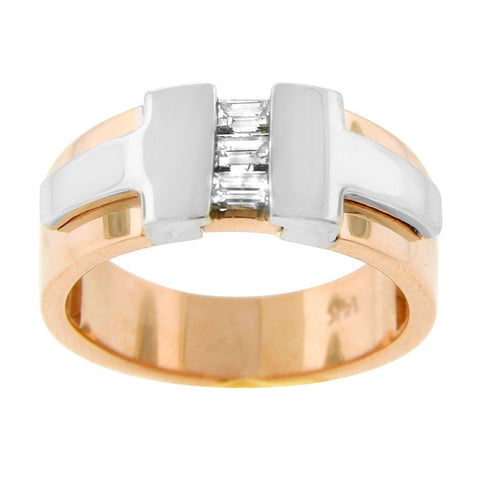 """14K Two Tone Gold & Diamond Men's Ring"" - SprintShopping"