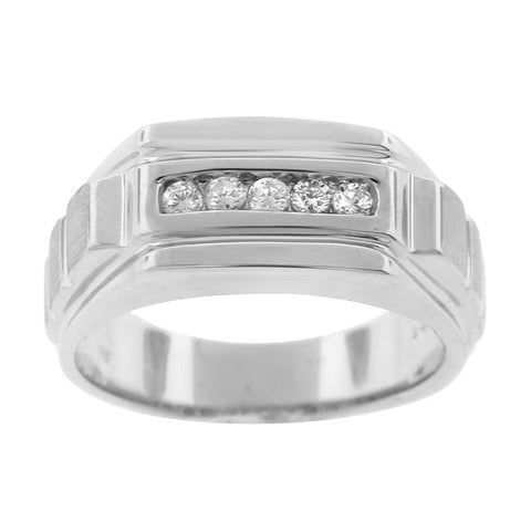 """14K White Gold & Diamond Men's Ring""-2681 - SprintShopping"