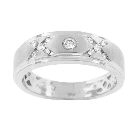"""14K White Gold & Diamond Men's Ring""-2682 - SprintShopping"