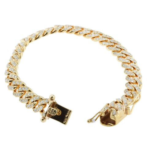"""10K Yellow Gold Diamond Cuban Mens Bracelet"" - SprintShopping"