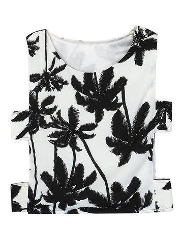 White Coconut Tree Print Cut Out Side Crop Vest