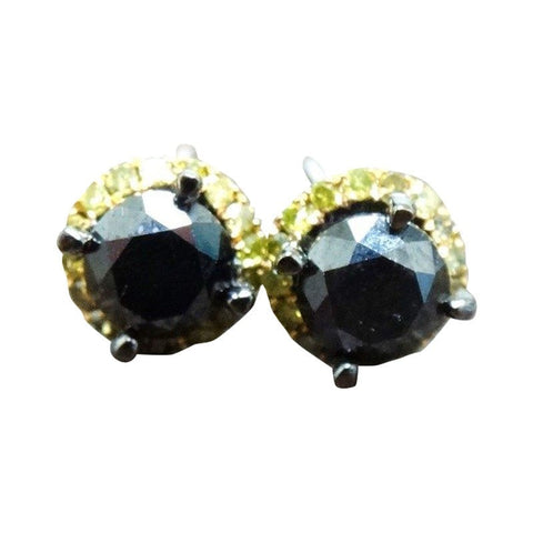 """10K Black Gold Black Fancy Yellow Diamond Stud Earrings"" - SprintShopping"