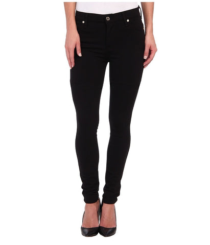 7 For All Mankind - The Doubleknit High Waist Skinny in Black (Black) Women's Casual Pants
