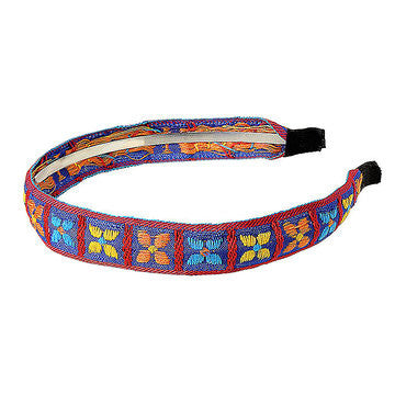 Clover Ethnic Embroidered Headband in Blue