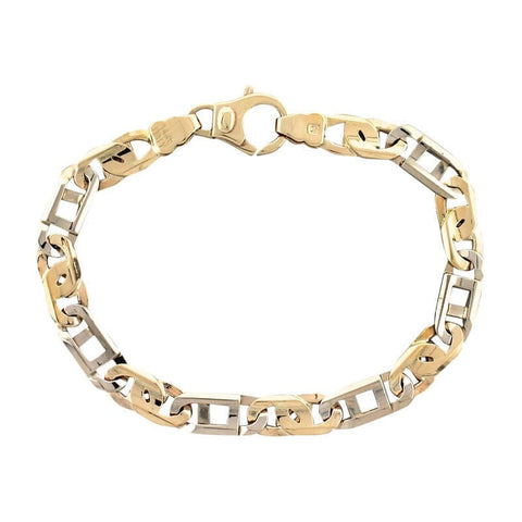 """Two-Tone 14K 585 Yellow White Gold Fancy Link Chain Mens Bracelet"""