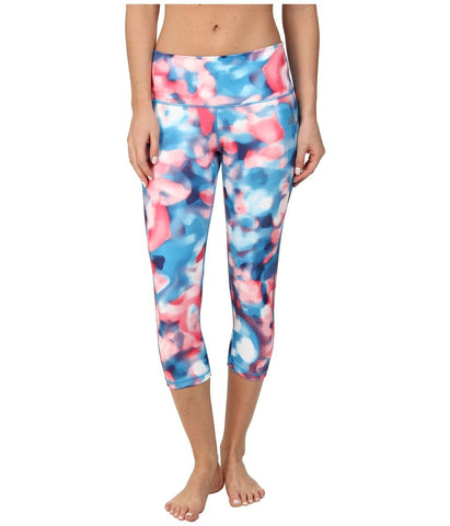adidas - Performer Mid-Rise Three-Quarter Tight - Festival Print (Blue Multicolor/Night Sky) Women's Workout