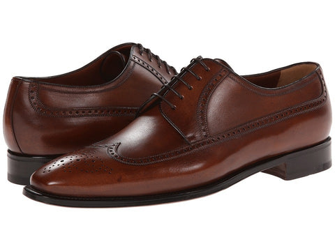 a. testoni - Wingtip Oxford (Caramel 1) Men's Lace Up Wing Tip Shoes