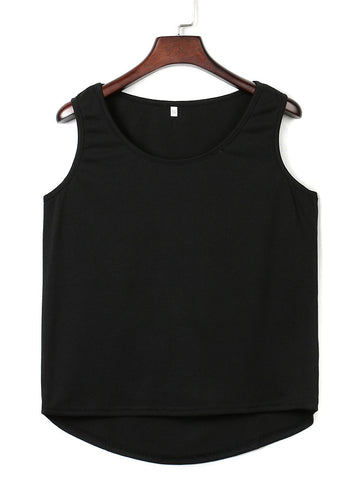 Black Cut Out Back Hi-lo Vest