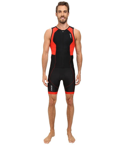 2XU - Full Zip Trisuit (Black/Scarlet) Men's Race Suits One Piece