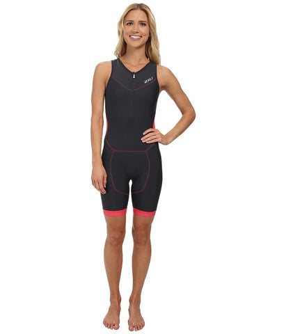 2XU - Perform Trisuit w/ Front Zip (Charcoal/Coral Paradise) Women's Wetsuits One Piece
